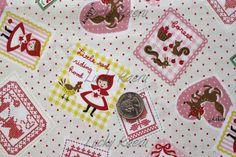 Kawaii Fairytale Little Red Ridinghood Stamp on Cream Japanese Fabric - Half Yard. $8.00, via Etsy.