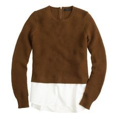 Lambswool shirttail sweater in roasted acorn/white