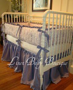 Crib Bedding Baby Bedding 2 Piece Set Lavender Linen by LinenBaby, $285.00