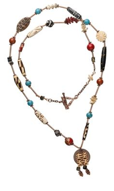 Single-Strand Necklace with Bone Beads, Turquoise Gemstone Beads, Fossil Beads and Antiqued Copper Beads - Fire Mountain Gems and Beads
