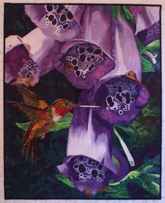 Foxglove with Hummingbird by Lenore Crawford. Unbelievably beautiful!