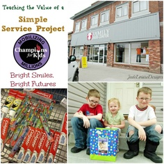Teaching the value of A Simple Service Project with Champions for Kids #Colgate4Kids Bright Smiles, Bright Futures #serviceproject #Cbias #parenting