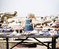How perfect is this dessert table for a nautical themed beach wedding?
