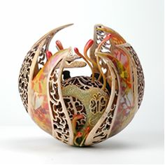"""Seed of Love"" by Joey Richardson,  6"" Sycamore, pierced and airbrushed with acrylic colours"