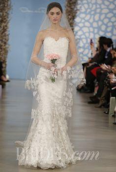 "Ambiance~Distinctive Weddings & Events A Trumpet Gown:  Oscar de la Renta - Spring 2014. ""Amelia"" ivory flower embroidered silk organza applique sweetheart trumpet gown, Oscar de la Renta Photo c/o brides.com  (410) 819-0046"
