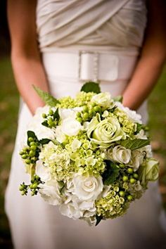 bridesmaids bouquet, gorgeous green and white flowers