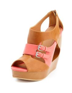 Color Block Zip-Back Cutout Wedge
