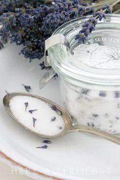 lavender sugar bowl, sea salt, bath salts, lavend sugar, sugar scrubs, homemade vanilla, food processor, little gifts, lemon