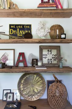 rustic open shelves