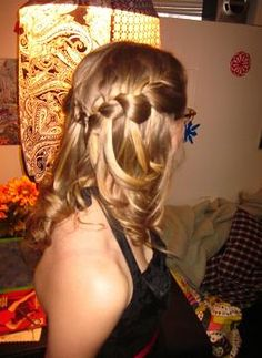 thick waterfall braids meeting in the middle, and then curled the ends