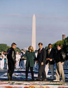 Tipper and Al Gore at the AIDS Quilt, Washington, DC., October 12, 1996.