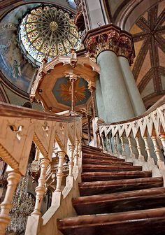 Stairway to Heaven  by Johanne Brunet -- View from inside the Cocathedral St-Antoine-de-Padoue in Longueuil, Quebec built between 1884 and 1887.   This beautiful construction of gothic inspiration has been designed by two architects, Albert Mesnard and Henri-Maurice Perrault.