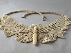 Crochet Necklace Irish Crochet Lace Butterfly in Fine Thread