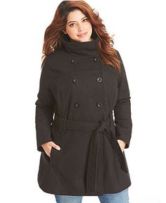Dollhouse Plus Size Coat, Double-Breasted Belted Pea Coat - Plus Size Coats - Plus Sizes - Macy's