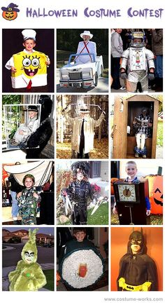 Halloween Costumes for Boys...Some of these kids parents are really creative (and great with a sewing machine!)