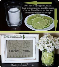 "Free ""lucky me, lucky you"" printable and how to use limes and lemons in a vase!!"
