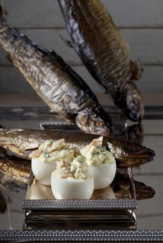 Deviled eggs with smoked trout from the Spring section of the Beekman 1802 Heirloom Recipe Cookbook