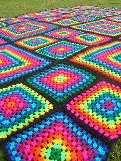 Rainbow Mosaic Crochet Afghan #crochet #blanket #afghan #rainbow