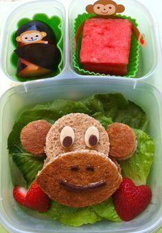Monkey face bento    #EasyLunchBoxes, #vegan, #bento, #fun kid food, #lunchbox