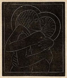Wood Engravings by Eric Gill  Divine Lovers I