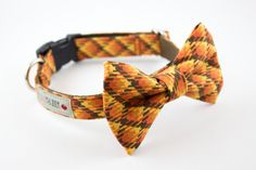 Pumpkin Plaid Dog Bow Tie Collar