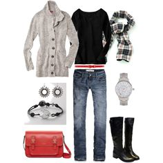 Check Scarf, created by #bluehydrangea on #polyvore. #fashion #style Old Navy Abercrombie & Fitch