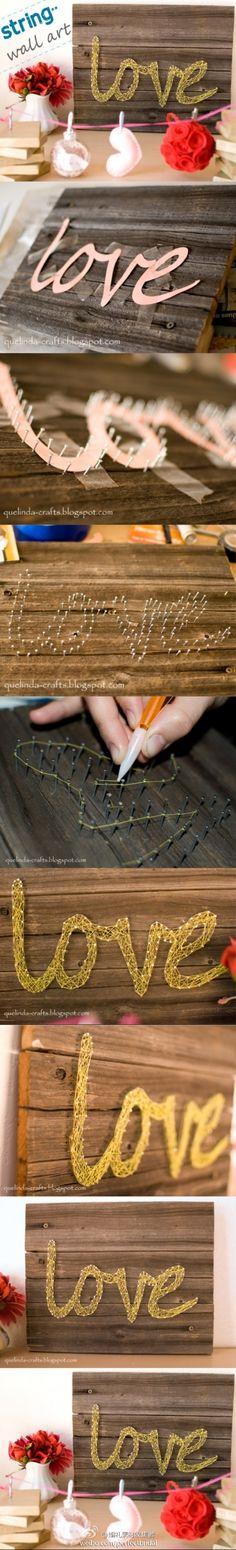 string & nail art ... Could do with silhouettes too. diy ideas, gift, string crafts, recycled wood, word art, nail arts, string art, diy wall art, diy projects