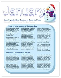 January free template for Word http://www.worddraw.com/january-newsletter-template.html
