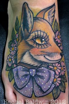 tattoome:    #Submission My traditional fox tattoo. Done by Rachel Baldwin at Modern Body Art in England. All of her work can be found on her facebook page:http://www.facebook.com/RachelJamieBaldwin