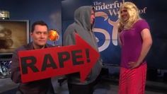 """Glenn Beck's Skit Mocking Campus Rape Is Gross and Misleading, Even for Him - The male character told the female character that he was an Abercrombie model. She responded by giggling and twirling her hair, in case you forgot that women are ridiculous. Burguiere then jumped in with a big red sign reading """"RAPE!"""" """"Whoa whoa whoa, stop!"""" he yelled. """"That's rape. Pressuring someone to have sex with you by telling them lies is the same as rape,"""""""