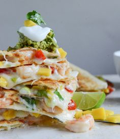 Chipotle Beer Shrimp Quesadillas with Spicy Guac I howsweeteats.com