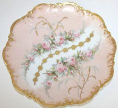 Antique French Limoges Pink Roses Plate rose plate, pink roses, french limog, limog pink, antiqu french, de limog, porcelain de
