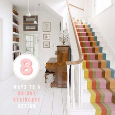 diy ideas, decor, hallways, colourful staircase, hous, colour staircas, stair runners, painted stairs, color staircas