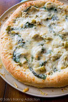 Spinach Artichoke White Cheese Pizza. @Sally McWilliam [Sally's Baking Addiction]