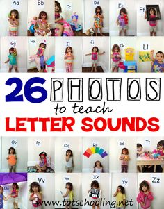 Teach the #alphabet using 26 photos of kids with a letter and holding objects that begin with that sound. FUN!
