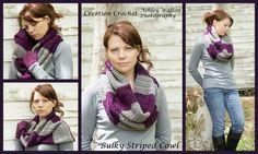 free pattern bulky stripped cowl crochet