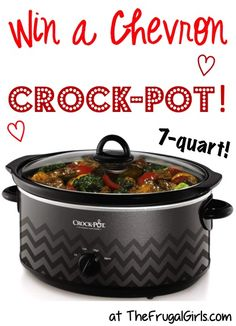 Chevron 7-qt Crockpot Giveaway!! ~ at TheFrugalGirls.com - enter to win this super-cute Slow Cooker!!