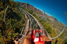 Wow! Canyon flyer (an alpine rollercoaster), Glenwood Caverns Adventure Park, Glenwood Springs, Colorado USA