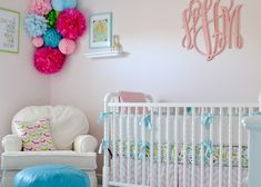 Love the bright pops of color in this #white #nursery.  #hotpink #turquoise #monogramwall