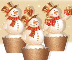 These amazing vintage snowman cupcakes will be a hit at christmas celebration.