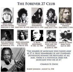 Amazing coincidences . . histori, musicians, roll, forev 27, 27 club, 27 musician, rock, illuminati, 27club