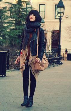 <3 <3 layering of aztec print sweater and black leather jacket. beautifully ecclectic.