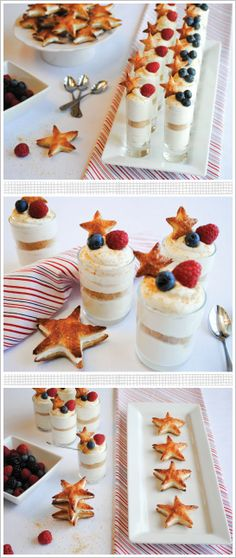 Patriotic Cheesecake Shots for July 4th