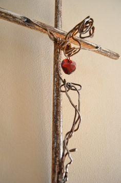 Cuore Vero Italian for True Heart a crucifix by CrossesByCatherine, $138.00
