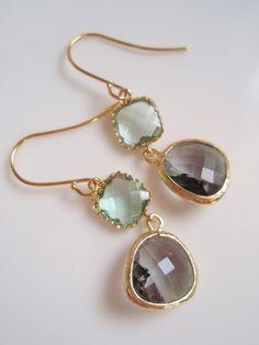 gray & green wedding earrings