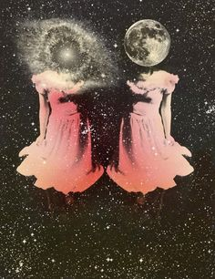 / moon, galaxies, cosmo, stars, outer space, collag, inspir, earth, twins