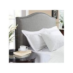 Grey Upholstered Headboard Tufted Queen Bed Frame Full Padded Bedroom Furniture #S2