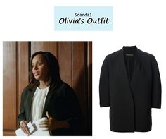 "On the blog: Olivia Pope's (Kerry Washington) black oversized open blazer | Scandal - ""The Price of Free and Fair Election"" (Ep. 318) #tvstyle #tvfashion #outfits #fashion #gladiators"