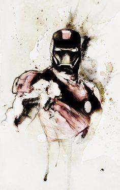 Iron Man ink drawing
