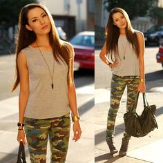 Fab Gray Open Back Top, Lulus Camo Denim, Lulus Gray Hobo Bag, Fab Talon Necklace, Steve Madden Gray Booties